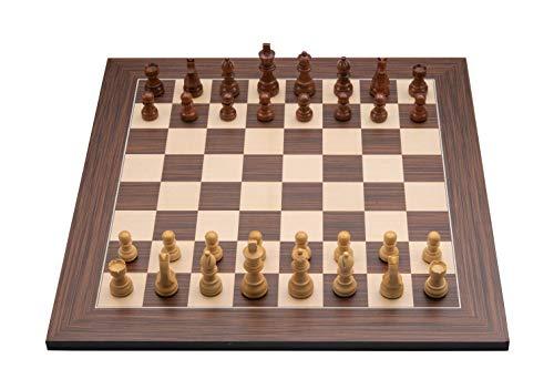 Engelhart - 170190-170191 - Juego de ajedrez Profesional 40x40cm, Incluye Piezas de ajedrez Plomo y Fieltro Rey Altura 76 mm (Marrón / Natural)