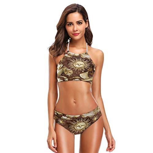 ZZKKO Sun Star Navi Bikini Badeanzug Damen High Neck Neckholder Zweiteiliger Badeanzug - Gelb - Small