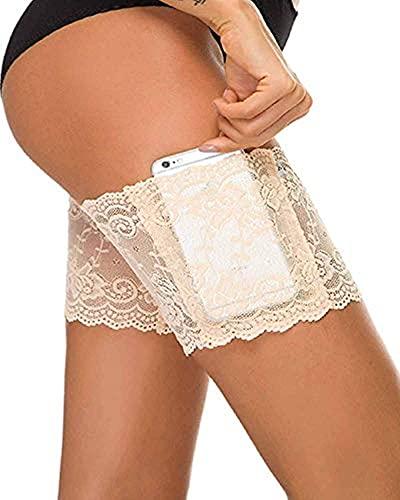 DEEWISH Oberschenkel Socken Damen, Elastische Lace Schenkel-Band Anti-Chafing Anti-Rutsch Oberschenkelbänder mit Cellphone Tasche