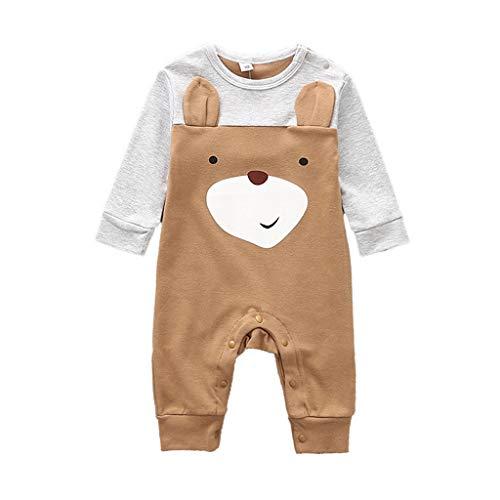 Strampler für Babys, Mädchen, Jungen, Mädchen, Neugeborene, Cartoon-Tier-Schlafanzug, Oberbekleidung, Schlafanzug, Geschenke Gr. 68, Braunbär