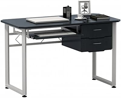 hjh OFFICE 673622 table d'ordinateur, bureau WORKFLOW graphite/blanc, grande surface de travail, avec support clavier et tablette, 2 grands tiroirs, grand espace de rangement, 76 x 120 x 60 cm