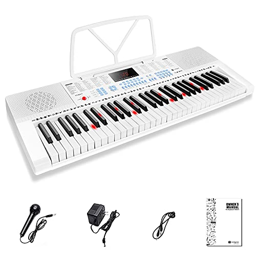 Vangoa VGK611 Piano Keyboard 61 Mini Lighted Key Portable electric piano with 3 Teaching Mode, Microphone, 350 Tones, 350 Rhythm, 30 Demo Songs, 8 Percussions, White