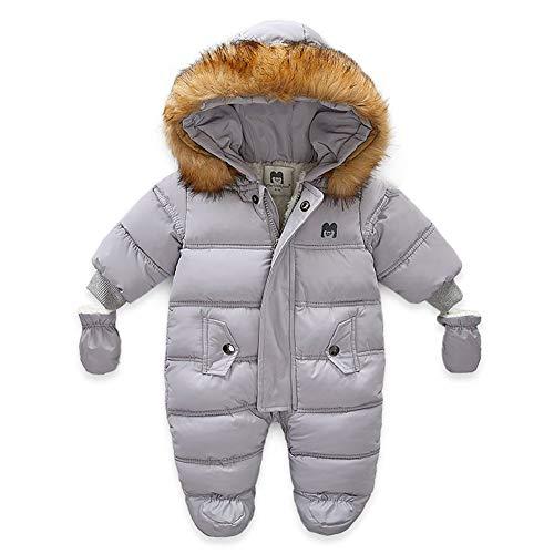 Xifamniy Baby Winter Snowsuit Coat Romper Outwear Hoodied Footie Toddler (Gray, 6-9 Months)
