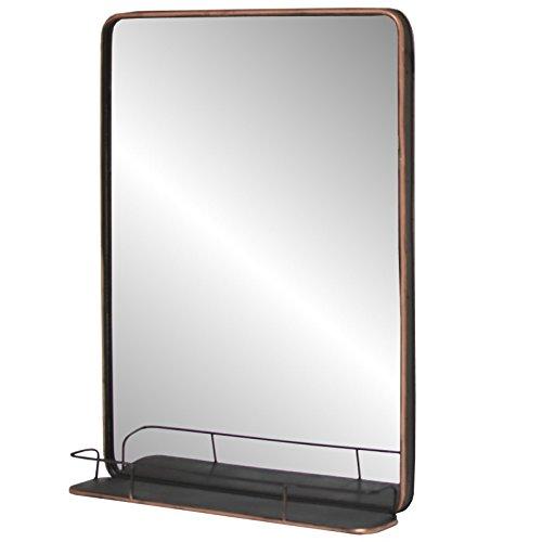 chemin_de_campagne Grand Miroir Industriel Tablette Etagère Mural Fer Métal 100x75x13,50 cm