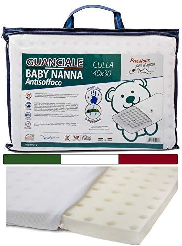 Kissen Kinder - Kissen Baby (MADE in ITALY und OEKO-TEX®) - Memory Foam Kopfkissen Kinder 40x30 cm - Baby Kissen Ideal für Baby Bett oder Kinder Bett