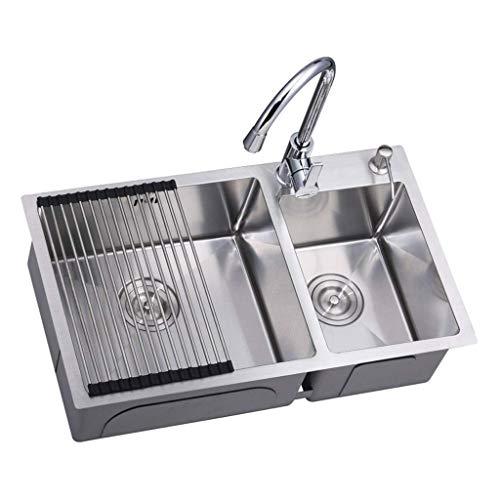 Pkfinrd 304 roestvrij stalen keukenbak 4 mm dik handmatige spoelbak dubbele wasbak Counter-wastafel wastafel 11,7 (grootte: 820X450mm)