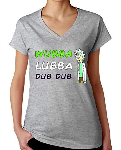 ShutUp Co. Rick Morty Wubba Lubba Dub Dub Camiseta con Cuello de Pico para Mujer X-Large