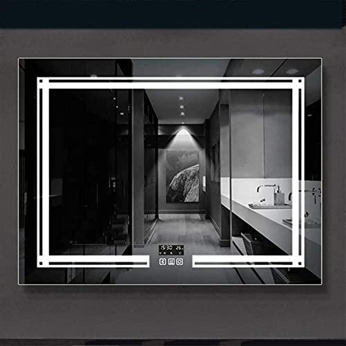 Espejo de baño LED de 600x800 mm, Espejo de baño rectangular iluminado por LED con interruptor táctil Función de reloj Bluetooth Audio, Demister Horizontal Vertical Colgante (Color: A, Tamaño: Horizon