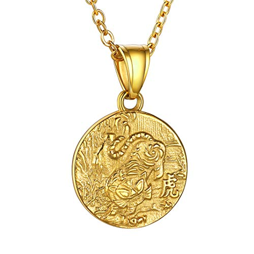 Tiger 12 Animals Coin Pendant, Lucky Gold Chinese Zodiac Necklace For Men