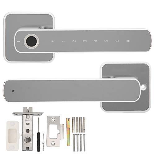 Sdfafrreg Cerradura de manija Inteligente, Cerradura de Puerta con Huella Dactilar de monitoreo en Tiempo Real de aleación de Zinc, Sistema de Seguridad para el hogar Carga USB para oficinas de