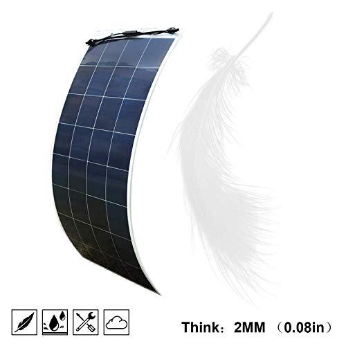 ECOWORTHY Panel solar de 160 W, 18 V, 12 V, flexible, ultraligero, para barcos marinos, caravanas, autocaravanas, caravanas, tiendas de campaña o cualquier otra superficie irregular.