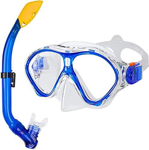 Queta Occhiali da Sub con Boccaglio, Set da Immersione per Bambini in Vetro Temperato Antiappannamento, Ideale per Immersioni, Snorkeling e Nuoto, Set da Immersione per Bambini