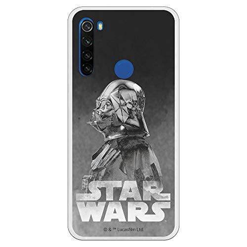 Funda para Xiaomi Redmi Note 8T Oficial de Star Wars Darth Vader Fondo Negro para Proteger tu móvil. Carcasa para Xiaomi de Silicona Flexible con Licencia Oficial de Star Wars.