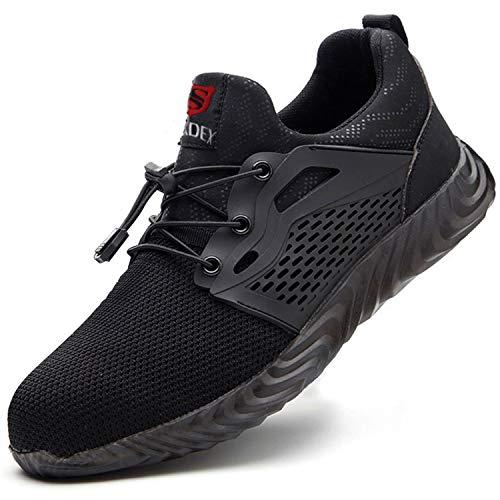 SUADEX Indestructible Steel Toe Shoes Men Women, Work Safety Shoes Working Shoes Steel Toe Construction Shoes 12.5 women/11 Men Black