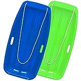 ANBO Paquete de 2 trineos de Nieve para niños, Trineo de Trineo de Descenso de plástico para Exteriores de Invierno de 35 Pulgadas con Cuerdas de tracción para niños y niñas,B