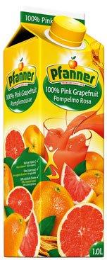 Pfanner Pink Grapefruit-Saft 100%, ohne Zuckerzusatz, Tetra - 1L - 4x