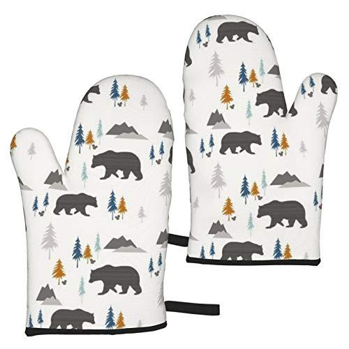 Bears In The Forest - Manoplas de horno con textura de carbón resistente al calor y soportes para ollas, forro de algodón suave con superficie antideslizante para barbacoa y hornear.
