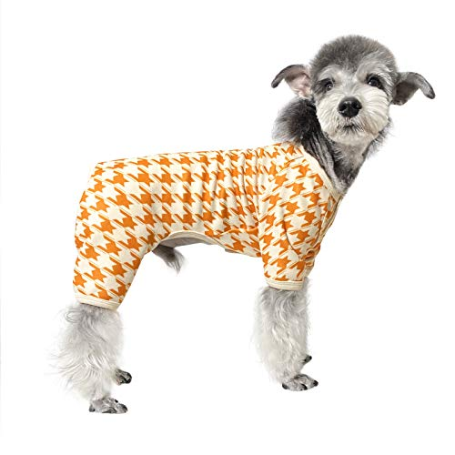 Topkins Dog Clothes Soft Houndstooth Dog Pajama Coat with Buttons Warm Dog Outfit Apparel Puppy Clothes Onesie Jumpsuit for Small Medium Doggie