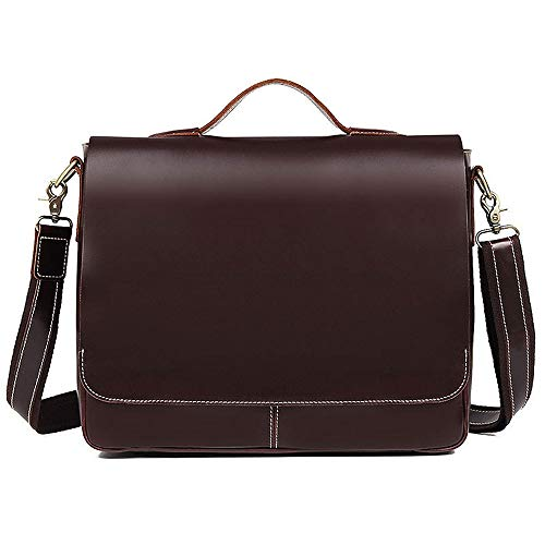 LIYANG Briefcase Men's Men's Cross-section Briefcase Diagonal Shoulder Bag Classic Simple Smooth Leather Business Tote (Color : Red wine, Size : 38x11.5x30.5cm)