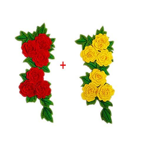 2 Stück Rosenapplikationen bestickt Aufnäher, Blumen-Aufnäher, Aufkleber für Kleidung, Abzeichen, Nähen, Stofftaschen, Jeans, Applikationen (Pur+Pin)