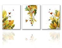 黄金色木の葉蝶と生花蝶々 アートパネル アート ポスター アートフレーム モダン 壁掛けアート アートボード インテリア 絵 絵画 部屋飾り 壁掛け 玄関 木枠セット 3パネルプリントキャンバス