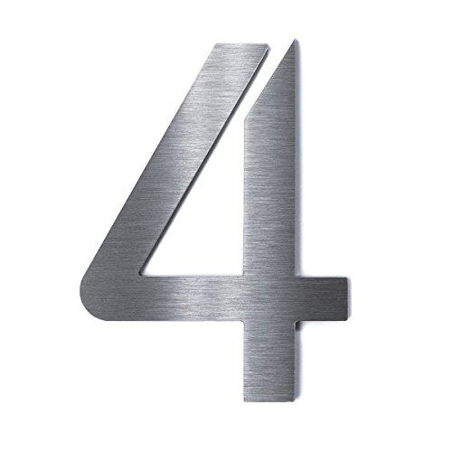 Hochwertige Edelstahl V2A Hausnummer'Bauhaus' grob geschliffen massiv & rostfrei Höhe: 200mm -...
