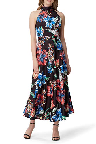 Tahari ASL Women's Sleeveless Mock Neck Halter Dress, Painted Blooms Black, 18