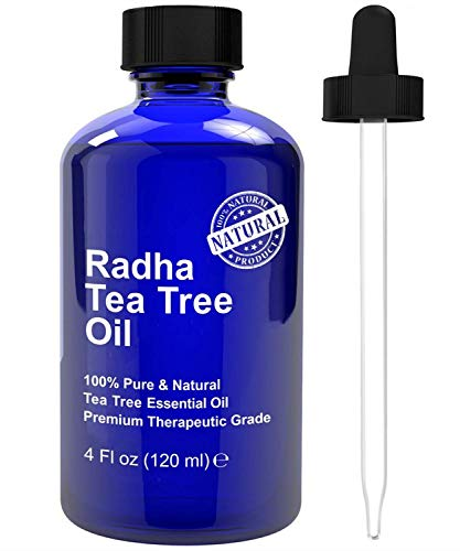 Radha Beauty Tea Tree Essential Oil 4 oz. - 100% Pure & Natural Premium Melaleuca Therapeutic Grade - Great with Soaps, Shampoo, Body Wash, Aromatherapy - Antifungal Treatment for Acne, Lice, & Nails