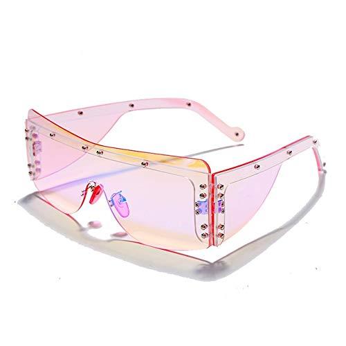 JINSUO DXXLD Moda sem aro quadrado óculos de sol feminino 2020 marca de luxo espelho rosa tons óculos de sol tendência masculino óculos oculos (Color : 1mirror pink, Local de envio : CHINA)
