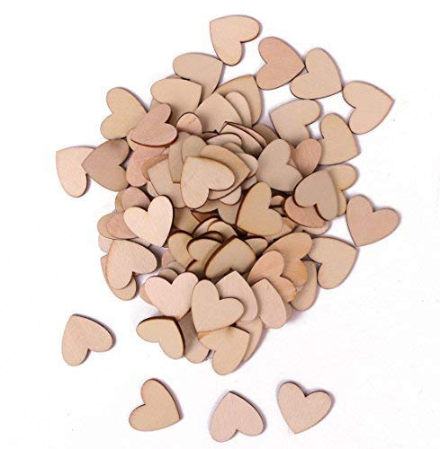 Shapenty Unfinished Blank Wooden Heart Shaped Slices Discs DIY Craft Pieces for Wedding Ornaments Christmas Party Embellishment, Pack of 100