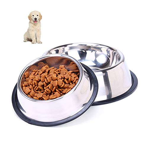 clover Stainless Steel Dog Bowl, 2 pcs Dog Feeding Bowls, food plate with non-slip rubber bottom, for medium and large dog water bowl food bowl (XS-26 cm / 10.1in)