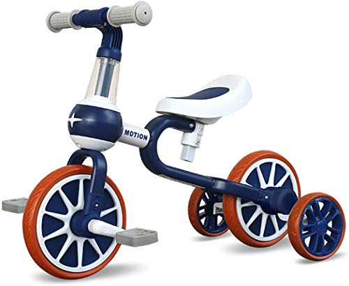 Zooma Bicicleta infantil 3 en 1, con pedal extraíble y ruedines de apoyo para niños de 1 a 4 años (azul)