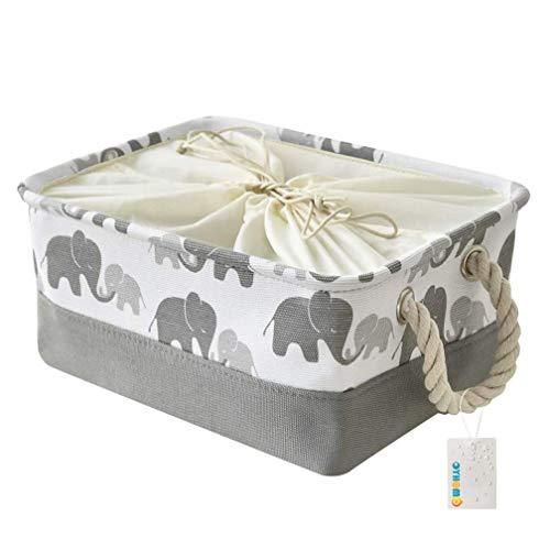 MissZZ Storage Basket Foldable Grey Elephant Rectangle Storage Box Thickened Canvas Fabric Storage Bin with Drawstring for Towels, Toys, Shelf - Small