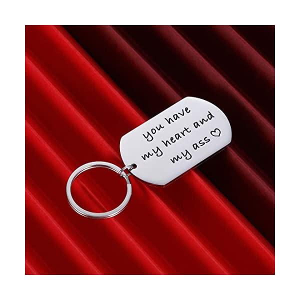 Valentines Day Gift Keychain for Husband Boyfriend From Girlfriend Wife Anniversary Birthday Gifts For Couple Keyring Women Men You Have My Heart Him Her Wedding