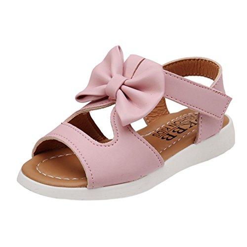 Transer pour 1-6 Ans Bébé, Mode Enfants Filles Sandales d'été Bowknot Plat Pricness Chaussures (28, Rose)
