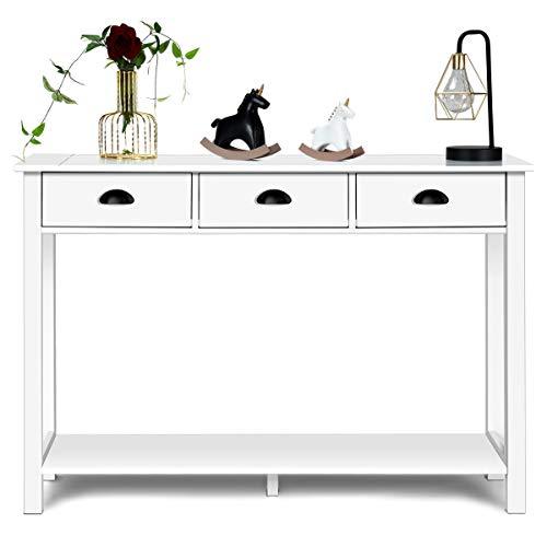 COSTWAY Konsolentisch mit 3 Schubladen Ablage, Beistelltisch Industrie Design für Wohnzimmer, Flur, Flurtisch 120x40x80cm Weiß