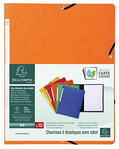 Exacompta 55414E Packung (mit 10 Eckspannmappen aus Manila-Karton 355 g, ideal für Dokumente DIN A4, Rückenetikett) 10 Stück orange