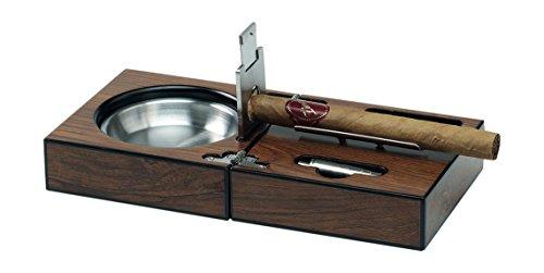Egoist Holz Aschenbecher für Zigarren Taschenaschenbecher + Cigar Cutter, Humidor-Zubehör, Braun