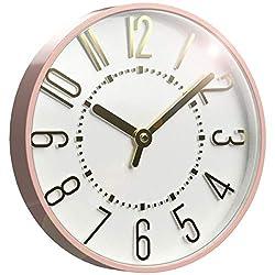 Westclox 33215BG 10-Inch Blush and Gold Wall Clock, White