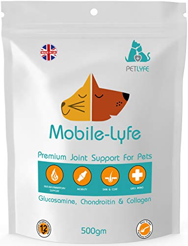 PetLyfe Hip Joint Support Supplement for Stiff Old Dogs, Maintains Mobility, 500g Joint Aid Dogs & Cats, Arthritic Pain Relief, Glucosamine, Chondroitin, Collagen, UK Manufactured