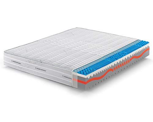 Marcapiuma - Colchón viscoelástico Matrimonio Memory 180x190 Alto 25 cm - Sunshine - firmeza H2 Medio 9 Zonas - Producto Sanitario CE - Funda desenfundable Silver Antiácaros 100% Fabricado en