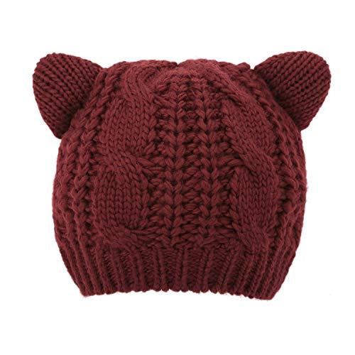 Luxspire Bonnet Mignon avec Oreilles de Chat pour Femme, Garder au Chaud pour Hiver/Ski - Rouge