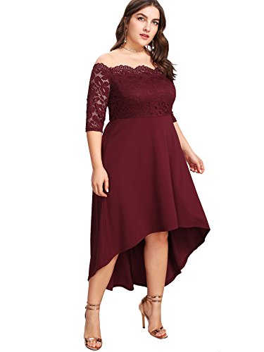 Floerns Women's Plus Size Vintage Lace Dip High Low Cocktail Party Dress