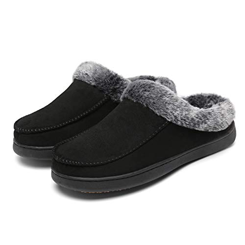 Women's Moccasin Slippers for Women Memory Foam Home Shoes with Fuzzy Plush Faux Fleece Lining, Ladies' Slip on House Shoes with Indoor Outdoor Anti-Skid Rubber Sole Black