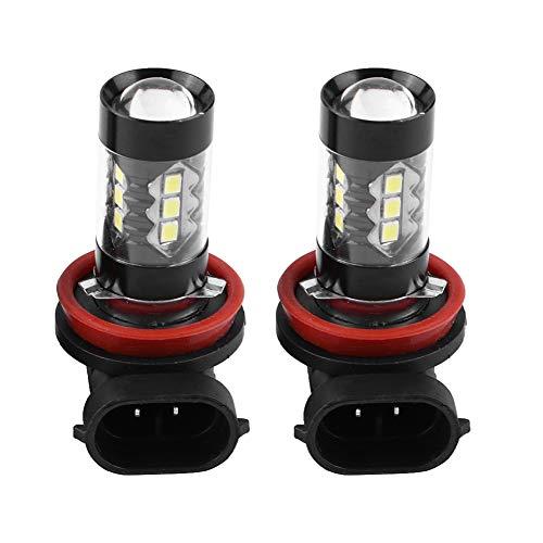 Qiilu 2 pcs H11 H8 Ampoule de Brouillard,12V-24V 80W LED Lumineuse Lumière de Brume Ampoules de jour 6000K 850LM