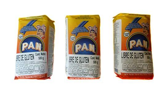 P.A.N. Harina de maíz amarillo dulce precocida, Sin Gluten, perfecta para Cachapas, 500 Gramos (3 Pack)