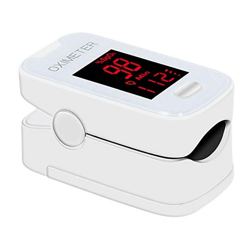 Pulse Oximeter Fingertip,Portable Blood Oxygen Saturation Monitor Finger Pulse Oximeter Heart Rate Monitor Rotatable LED Digital Display for Home Travel Use White