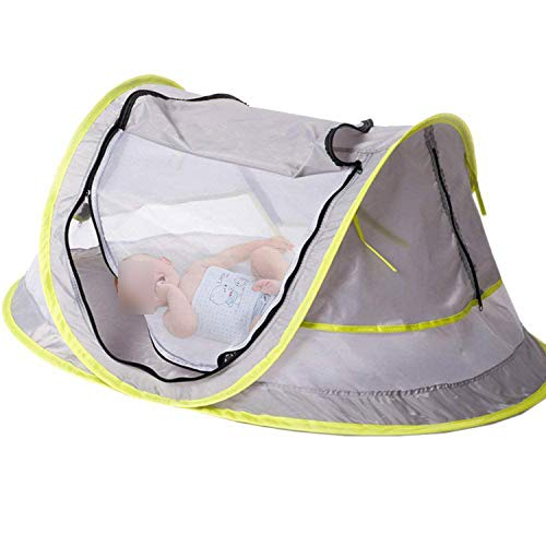 Try My Best Baby Portable Baby Travel Bed Beach Tent UPF 50+ Sun Shelter Pop Up Mosquito Net and 2 Pegs,Picture Color