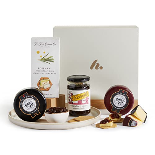 Luxury Cheese Hamper - Cheese Gift Box - Award Winning Cheese Selection, Red Onion Relish & Rosemary and Olive Oil Crackers - Cheese Gifts