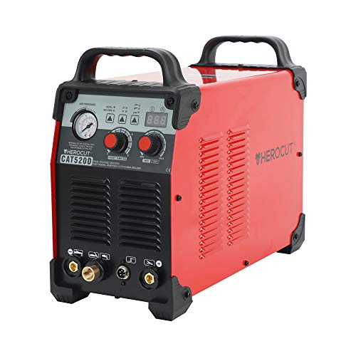 Plasma Cutter, HeroCut Digital CAT520D Dual Voltage 110/220v HF Arc Starting Plasma/Tig/Stick Welder 3 in 1 Combo Inverter Welding Machine, 12mm Clean Cut, 16mm Servance Cut #50Amps 65PSI (CAT520D)